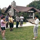Students tour Bungalow Courts with Jesse Lattig of Pasadena Heritage