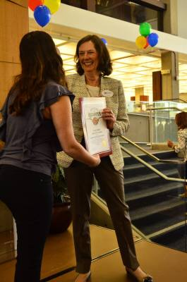 Library Director Cindy Cleary accepts a proclamation at the Central Library reopening ceremony (photo by Glendale Library Arts & Culture Dept)