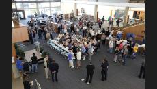 People gather for the ribbon cutting at the Glendale Central Library (photo by Tim Berger / LATimes)